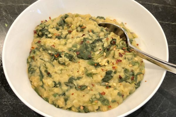 Spicy Red Lentils with Spinach & Orange Juice